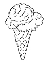 Line drawing of ice cream cone